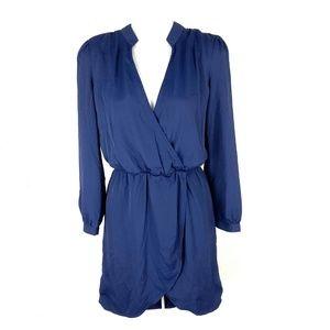 Tobi long sleeve career faux wrap dress navy blue